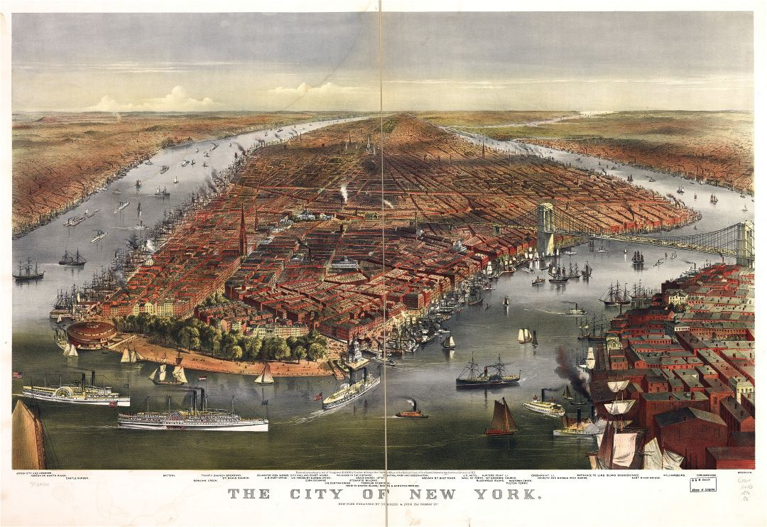 Large scale detailed old panoramic map of the city of New York - 1870