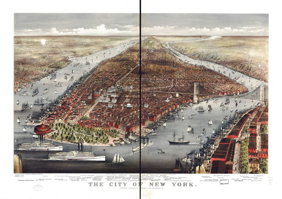 Large scale detailed old panoramic map of the city of New York - 1876