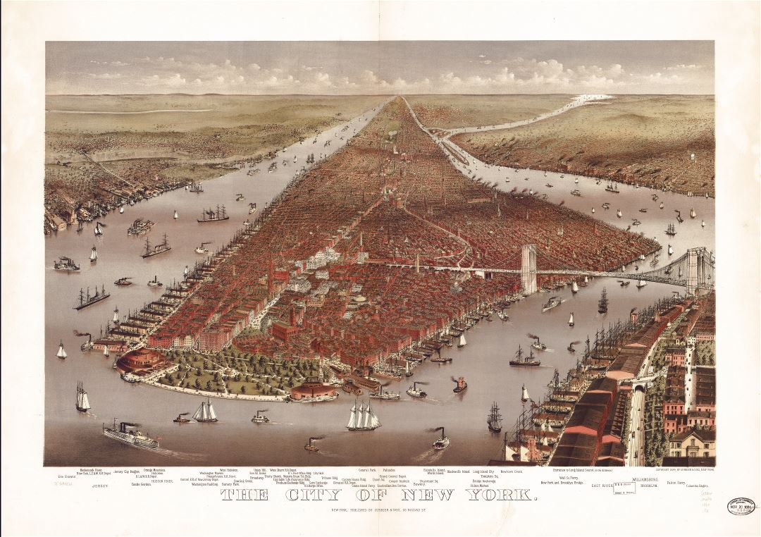 Large scale detailed old panoramic map of the city of New York - 1884