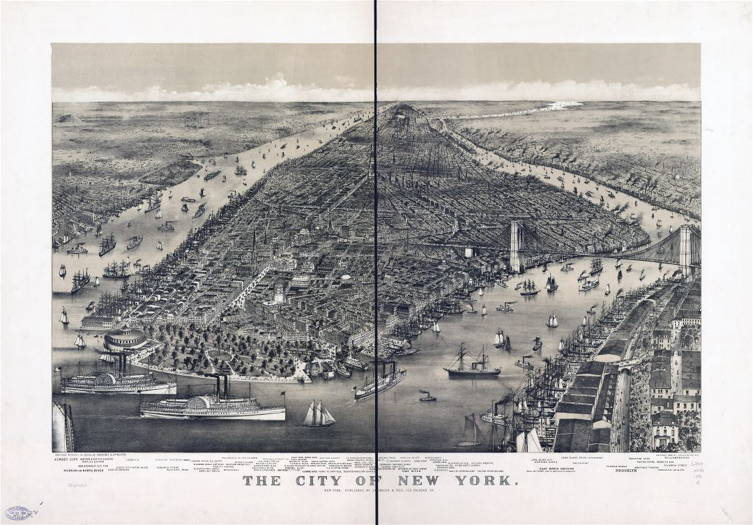 Large scale detailed old panoramic map of the city of New York - 1886