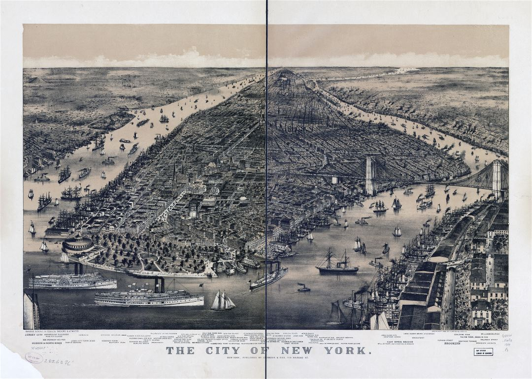 Large scale detailed old panoramic map of the city of New York - 1889