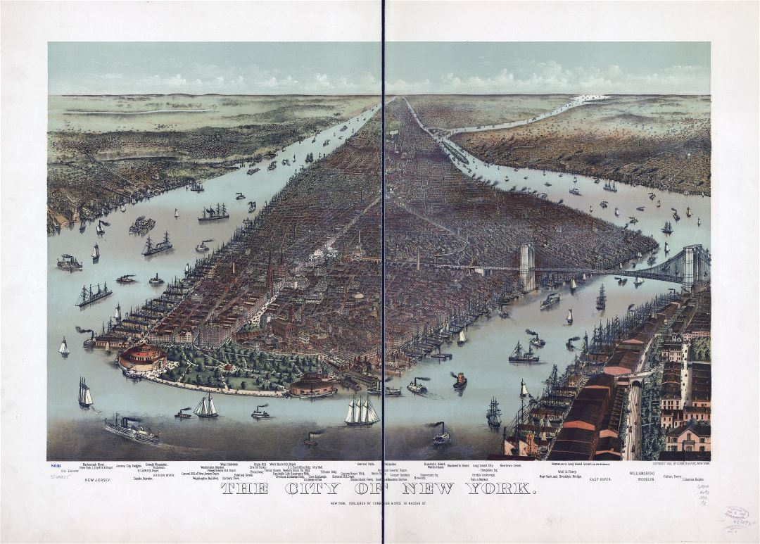 Large scale detailed old panoramic map of the city of New York - 1892