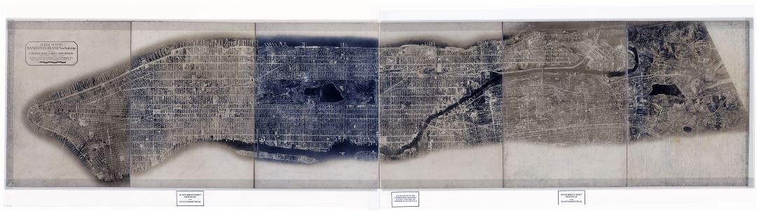 Large scale detailed old photo map of Manhattan Island New York
