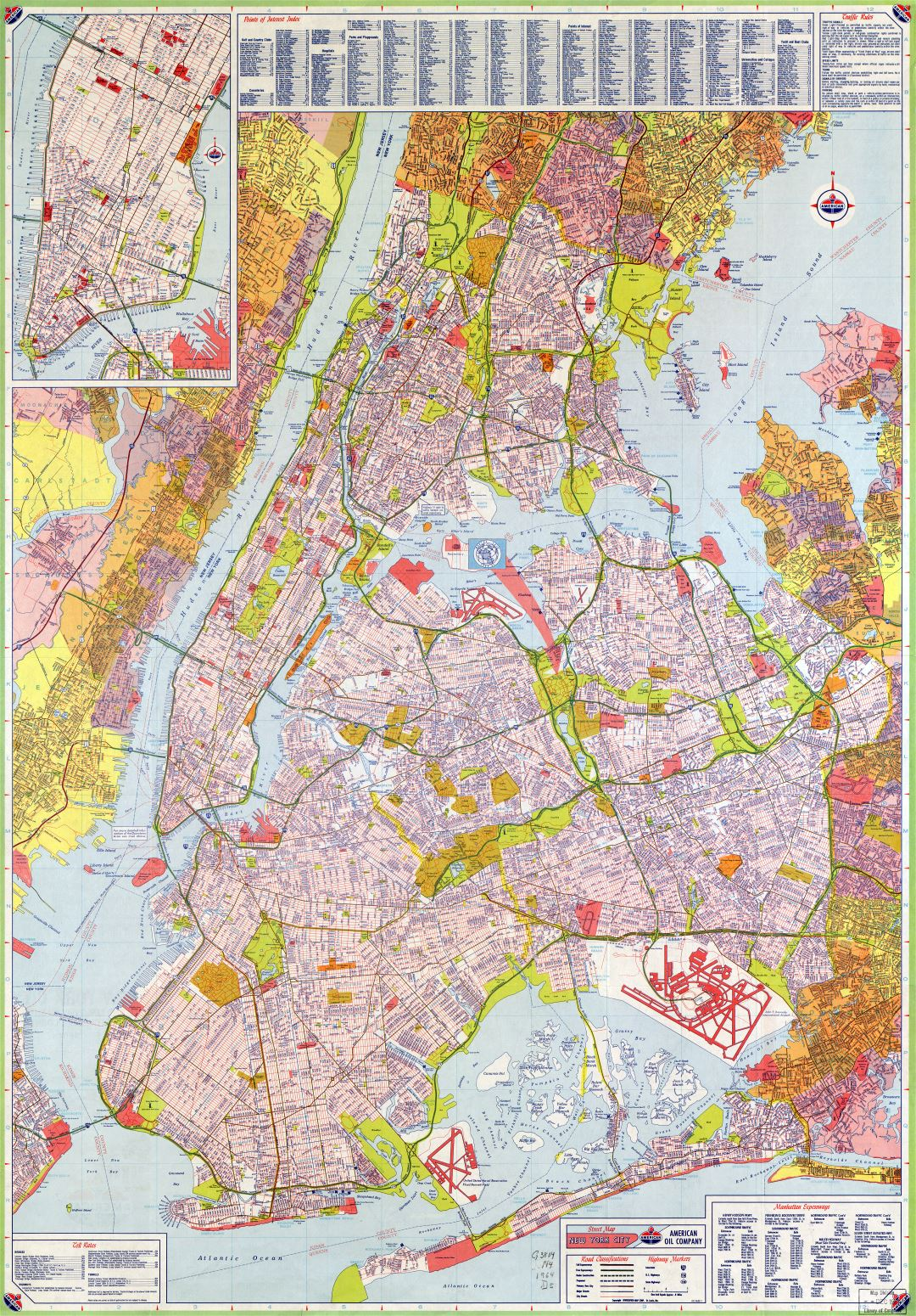 Large scale detailed road map of New York city USA with all street