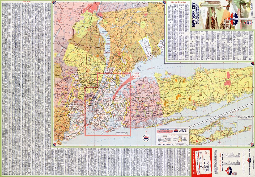 Large scale detailed roads and highways map of New York city and surrounding area