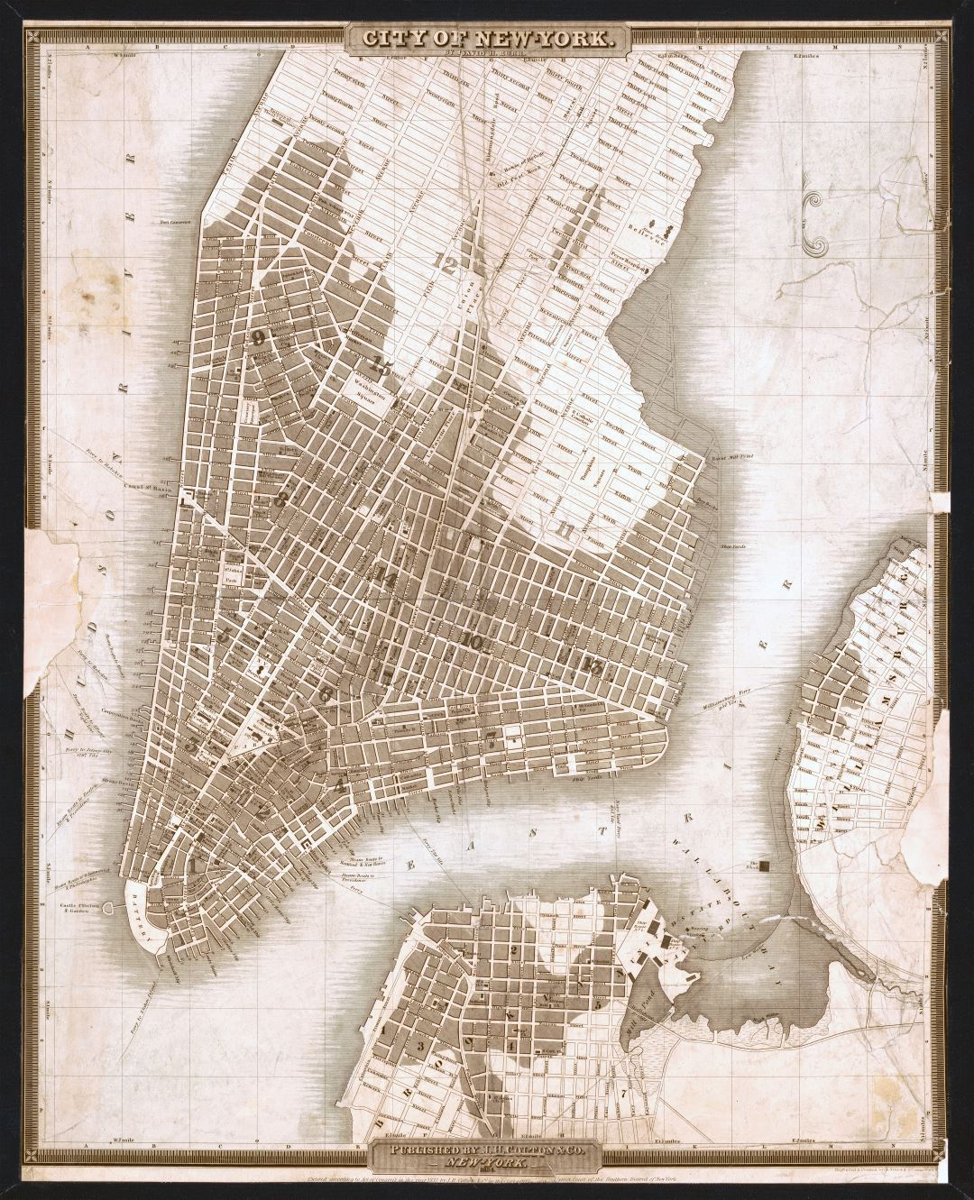 Large scale old map of city of New York - 1834