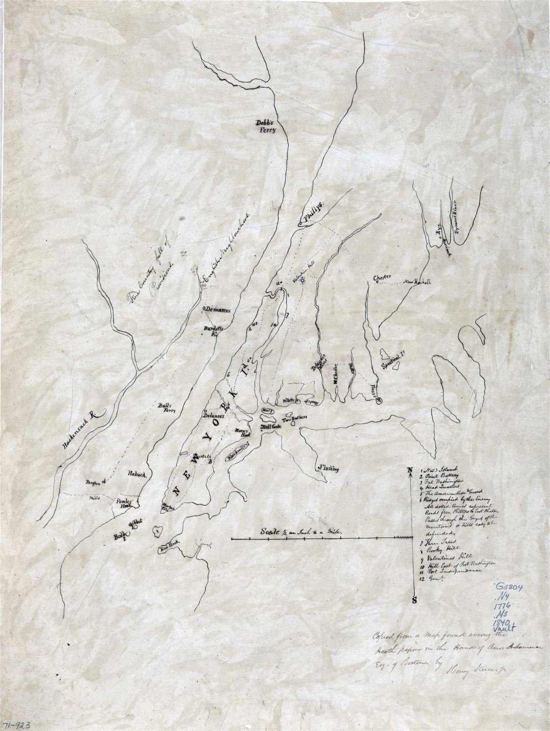 Large scale old map of New York island and vicinity - 1776