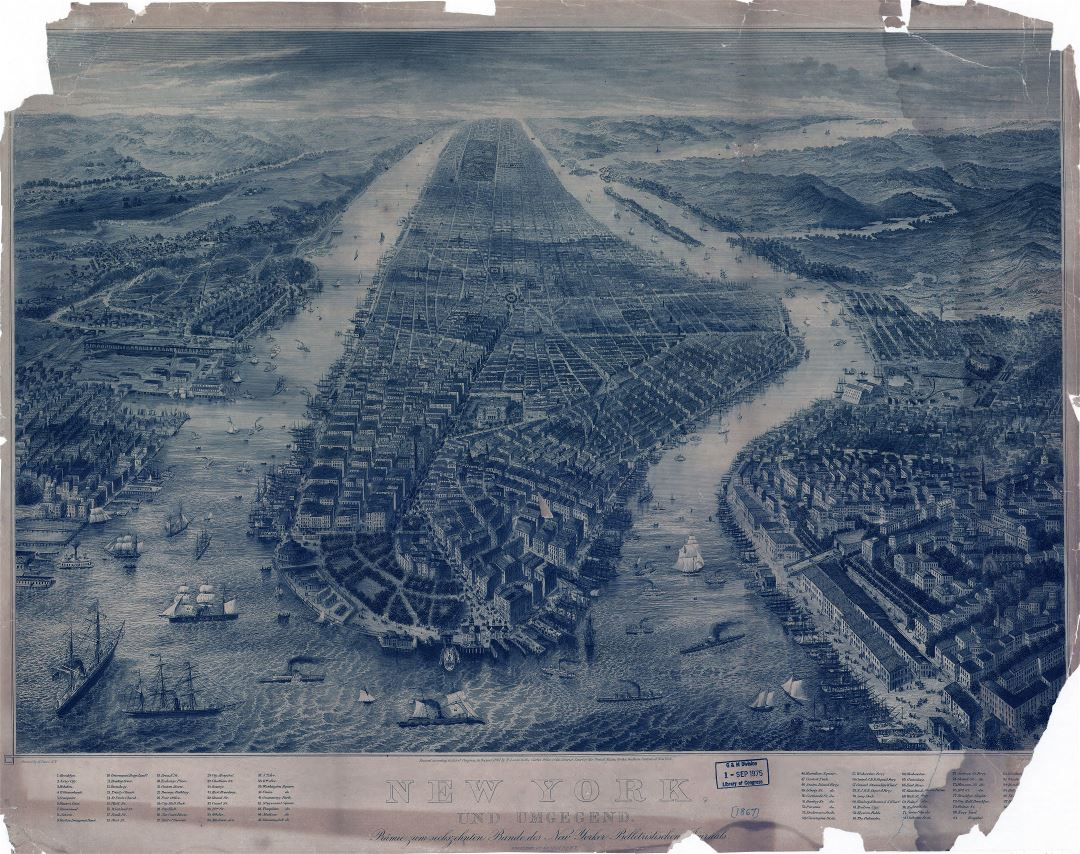 Large scale old panoramic map of New York - 1867
