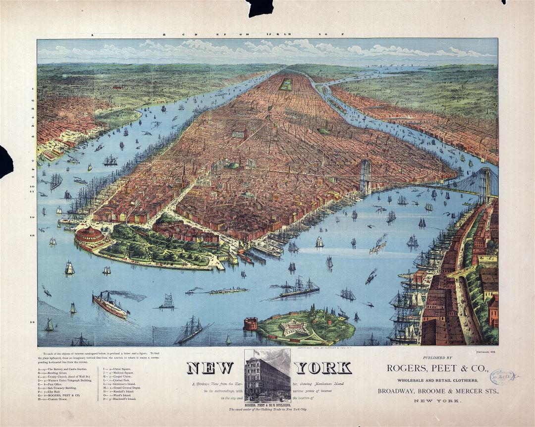Large scale old panoramic map of New York - 1879