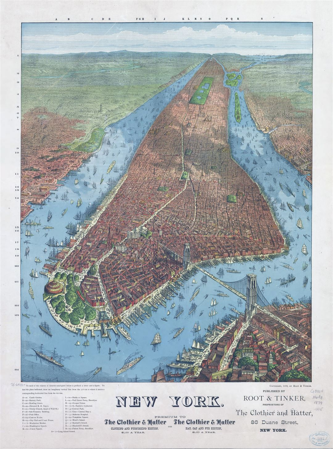 Large scale old panoramic map of New York city - 1879
