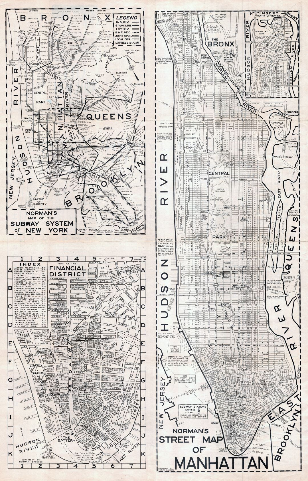 Large scaled printable old street map of Manhattan, New York city - 1945
