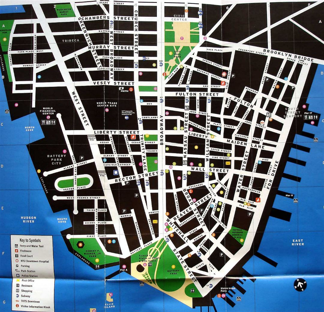 Large tourist map of Lower Manhattan
