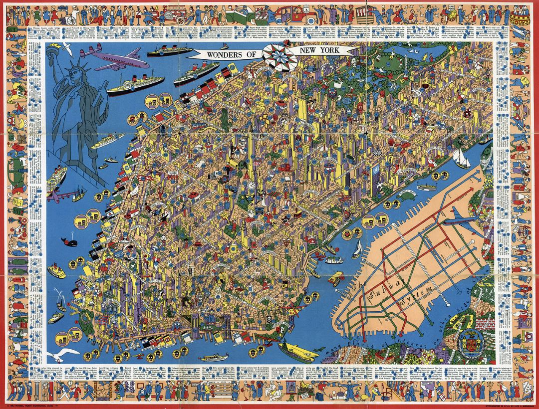 Perspective illustrated map of Manhattan, NYC