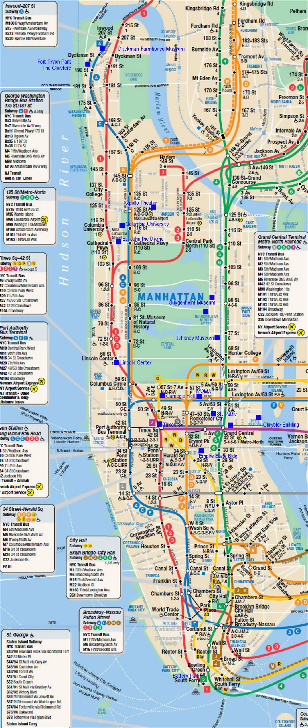 Subway map of Manhattan NYC New York USA United States of