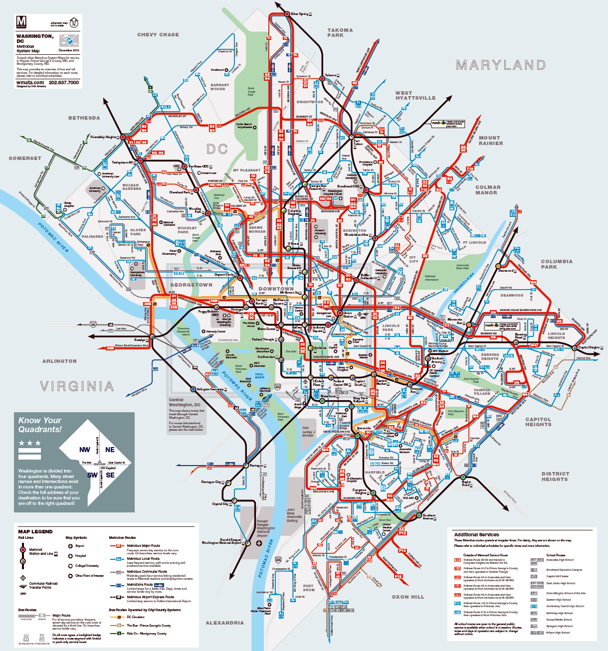 Detailed metrobus route map of Washington D.C. | Washington D.C.