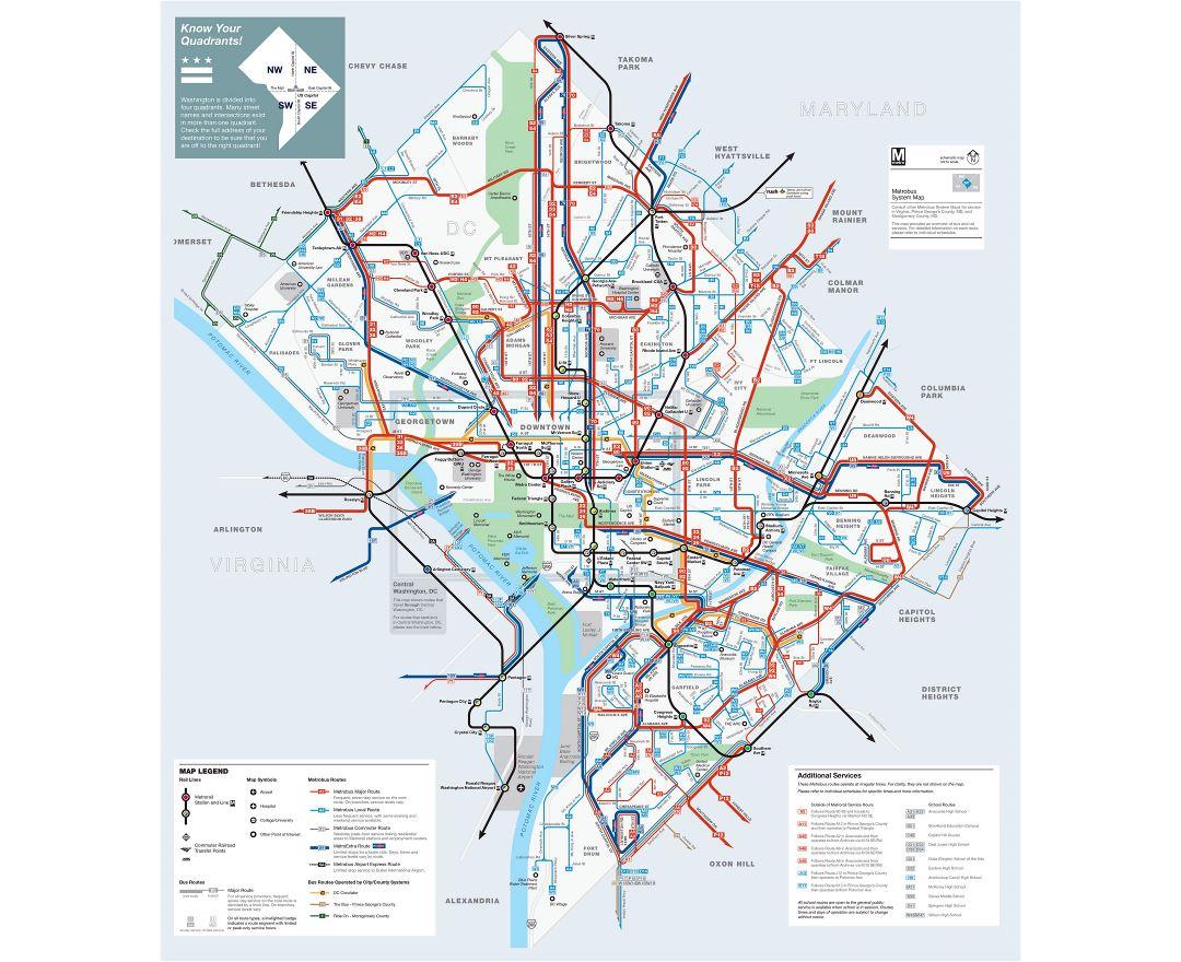 Maps of washington dc detailed map of washington dc city in large detailed metrobus route map of washington dc gumiabroncs Gallery