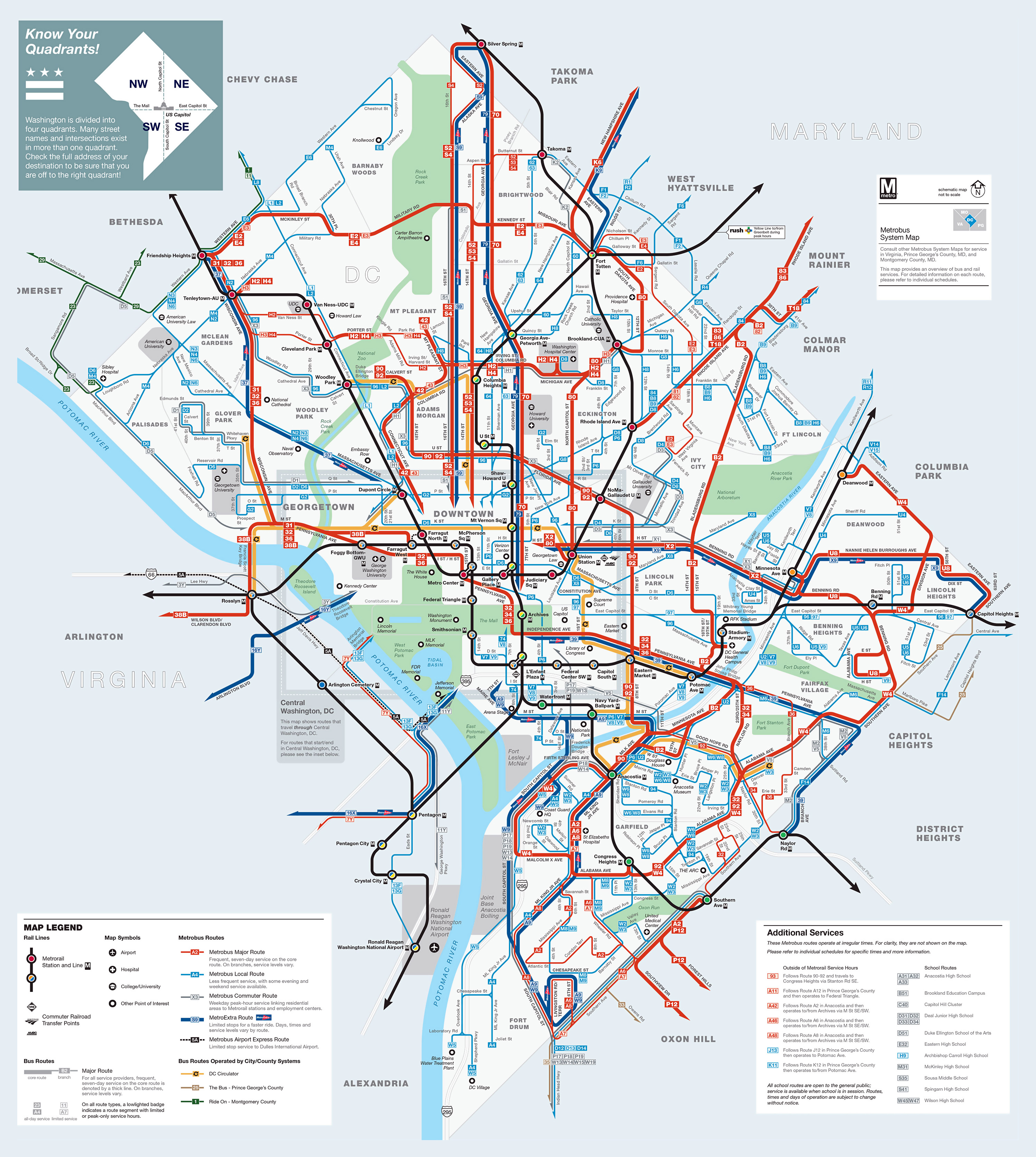 Large detailed metrobus route map of Washington DC Washington