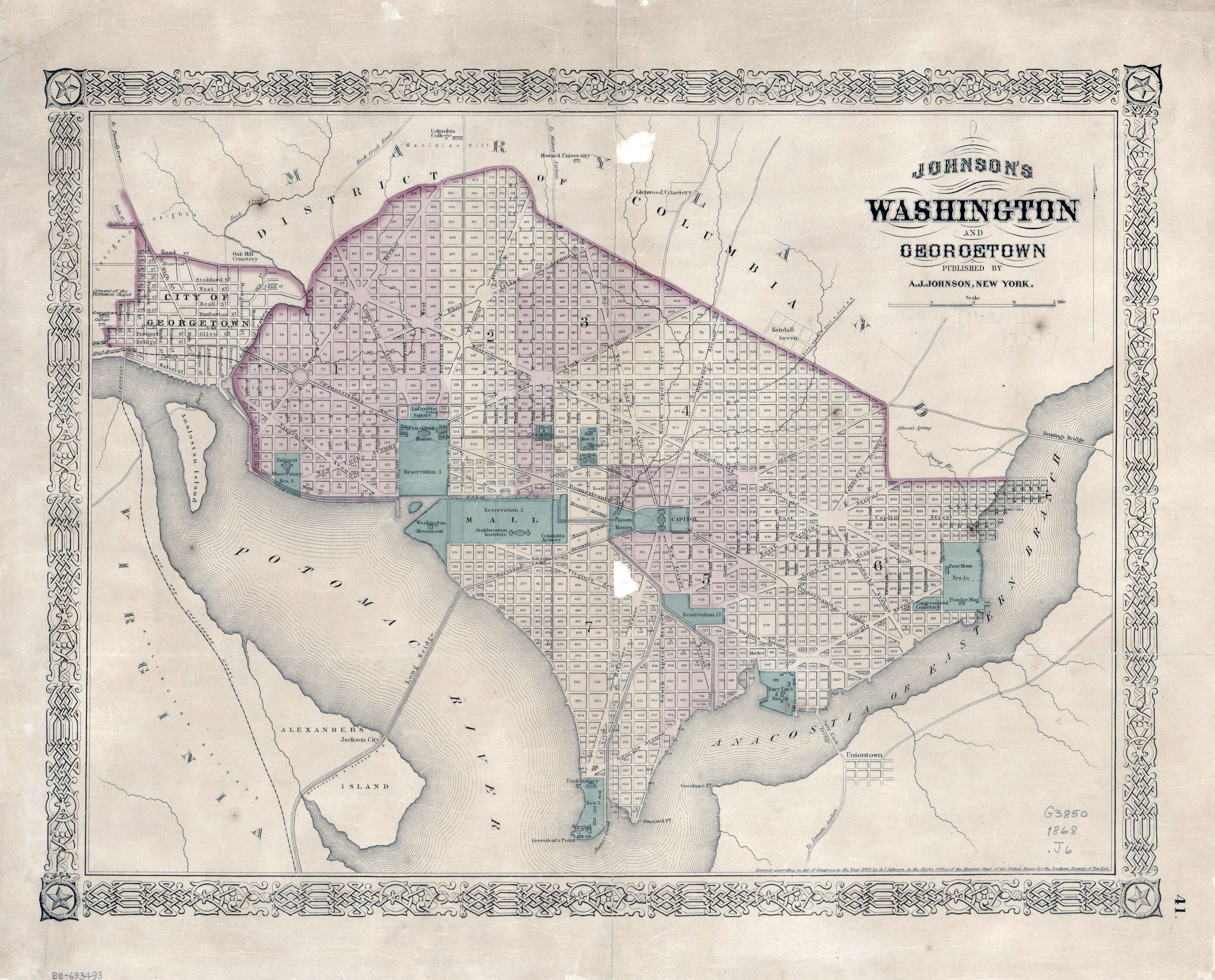 Large detailed old Johnsons Washington and Georgetown map 1868
