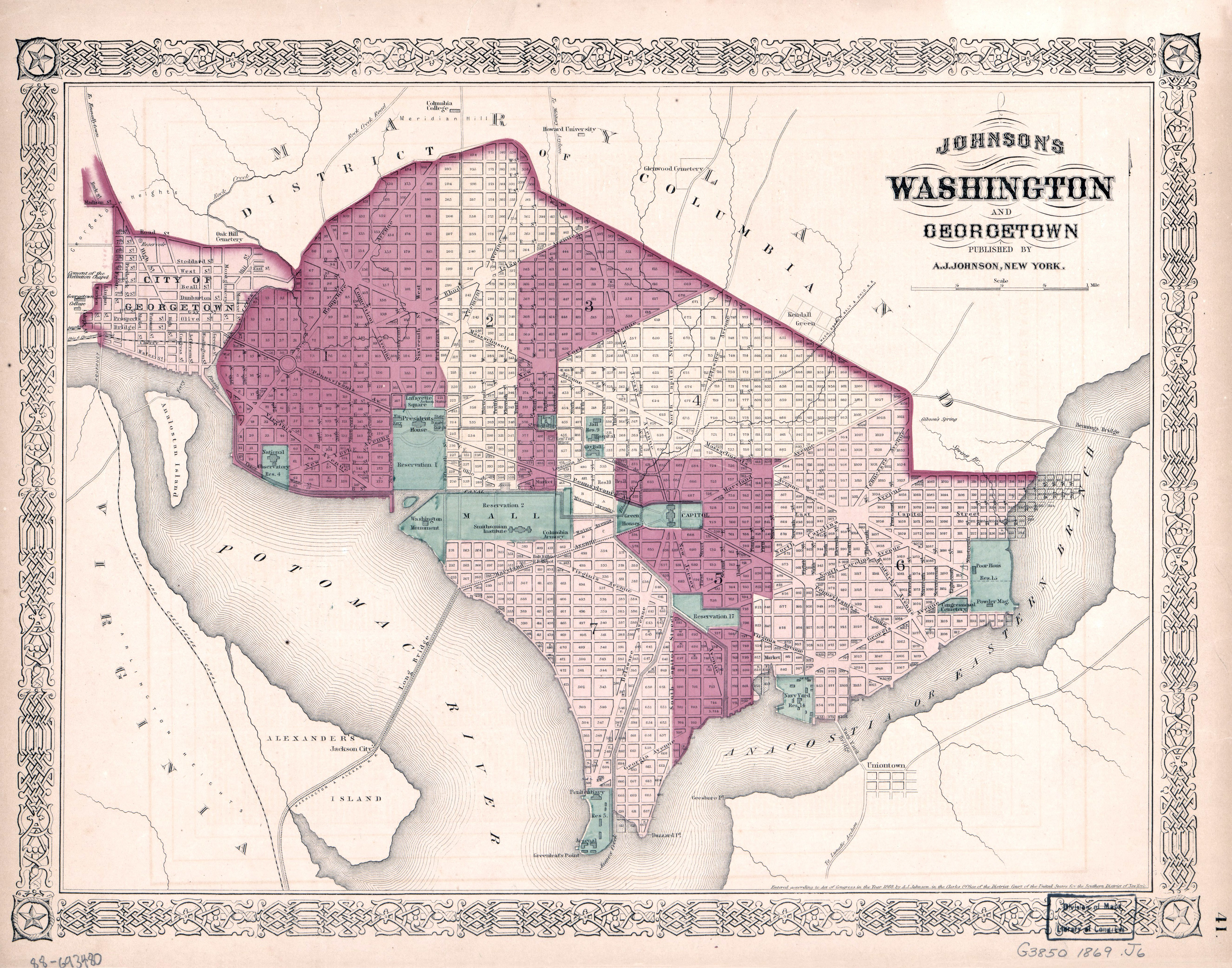 Large detailed old Johnsons Washington and Georgetown map 1869