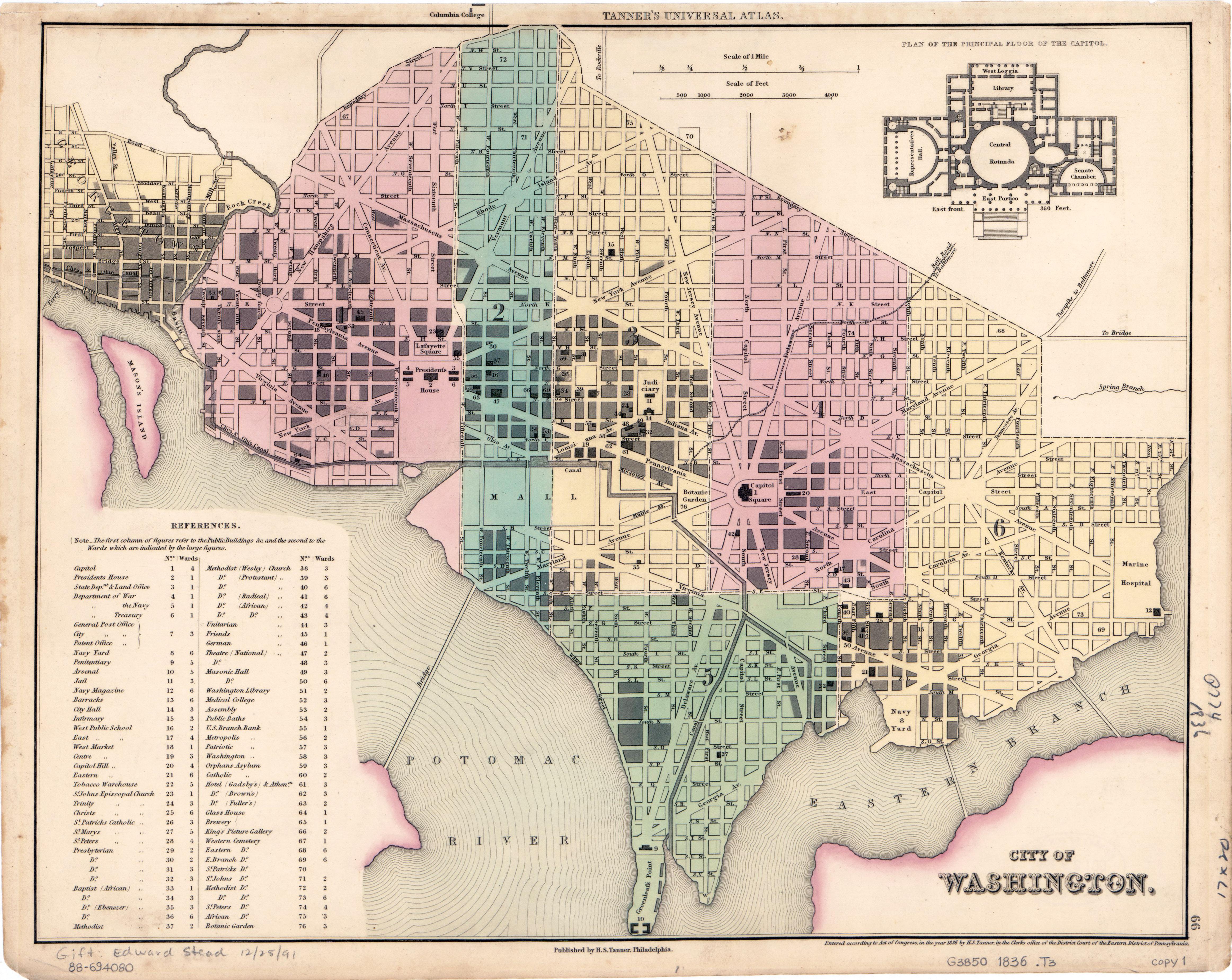 Large detailed old map of city of Washington 1836 Washington