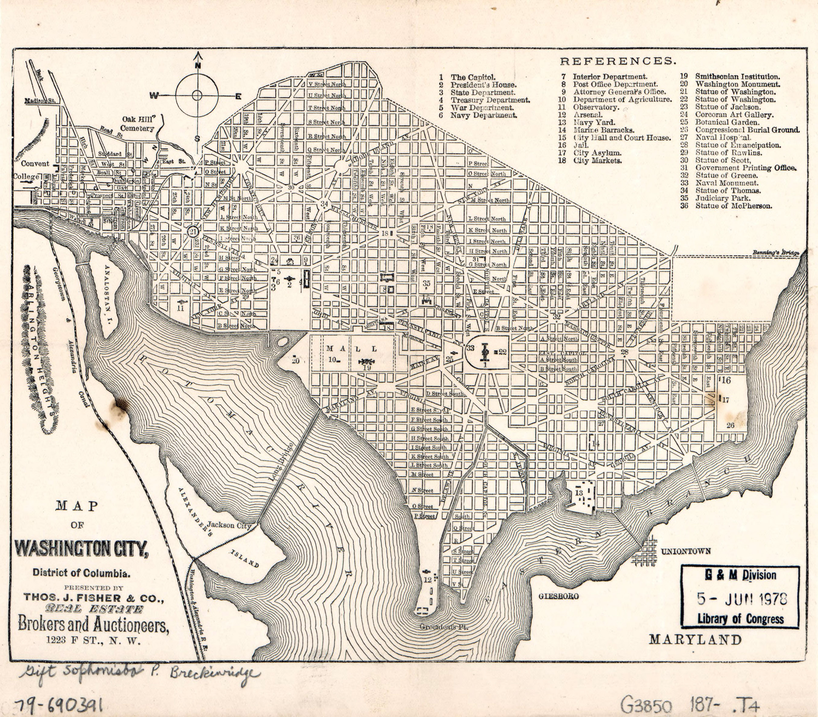 Large detailed old map of Washington city, District of ... on
