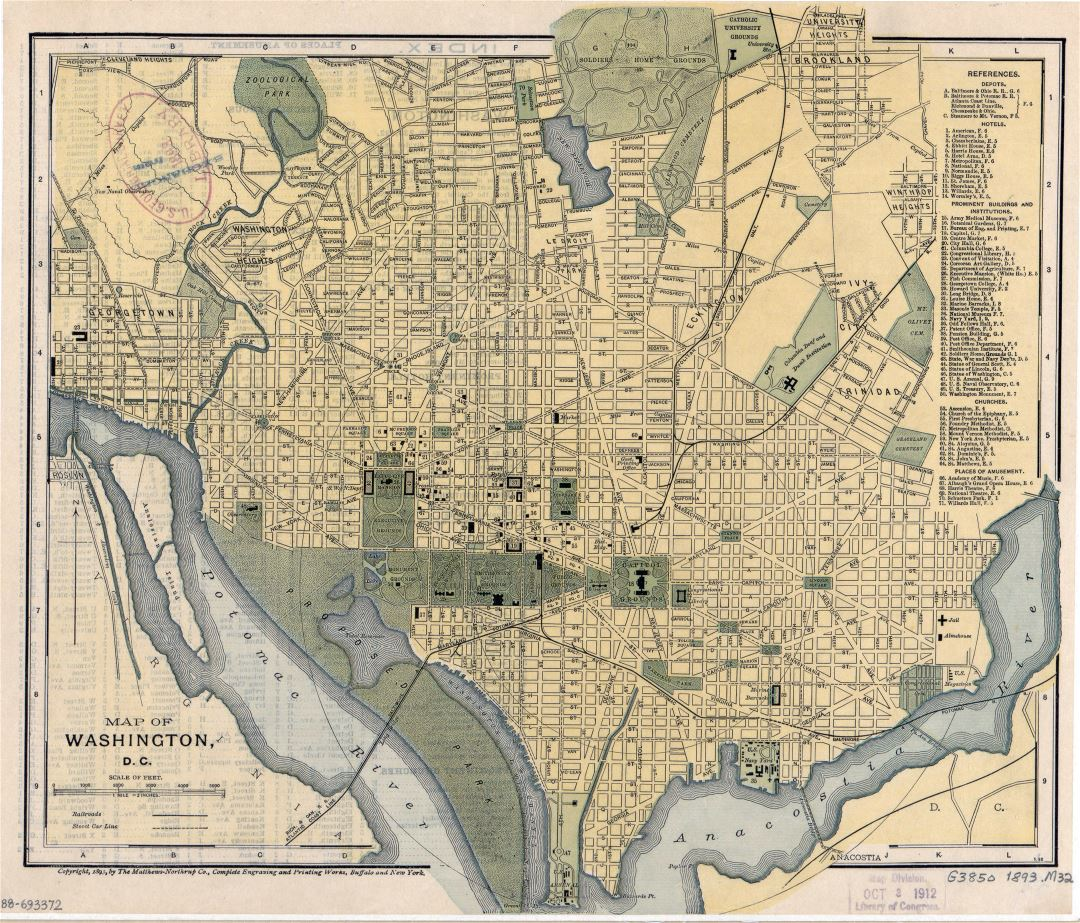 Large detailed old map of Washington D.C. with other marks - 1893