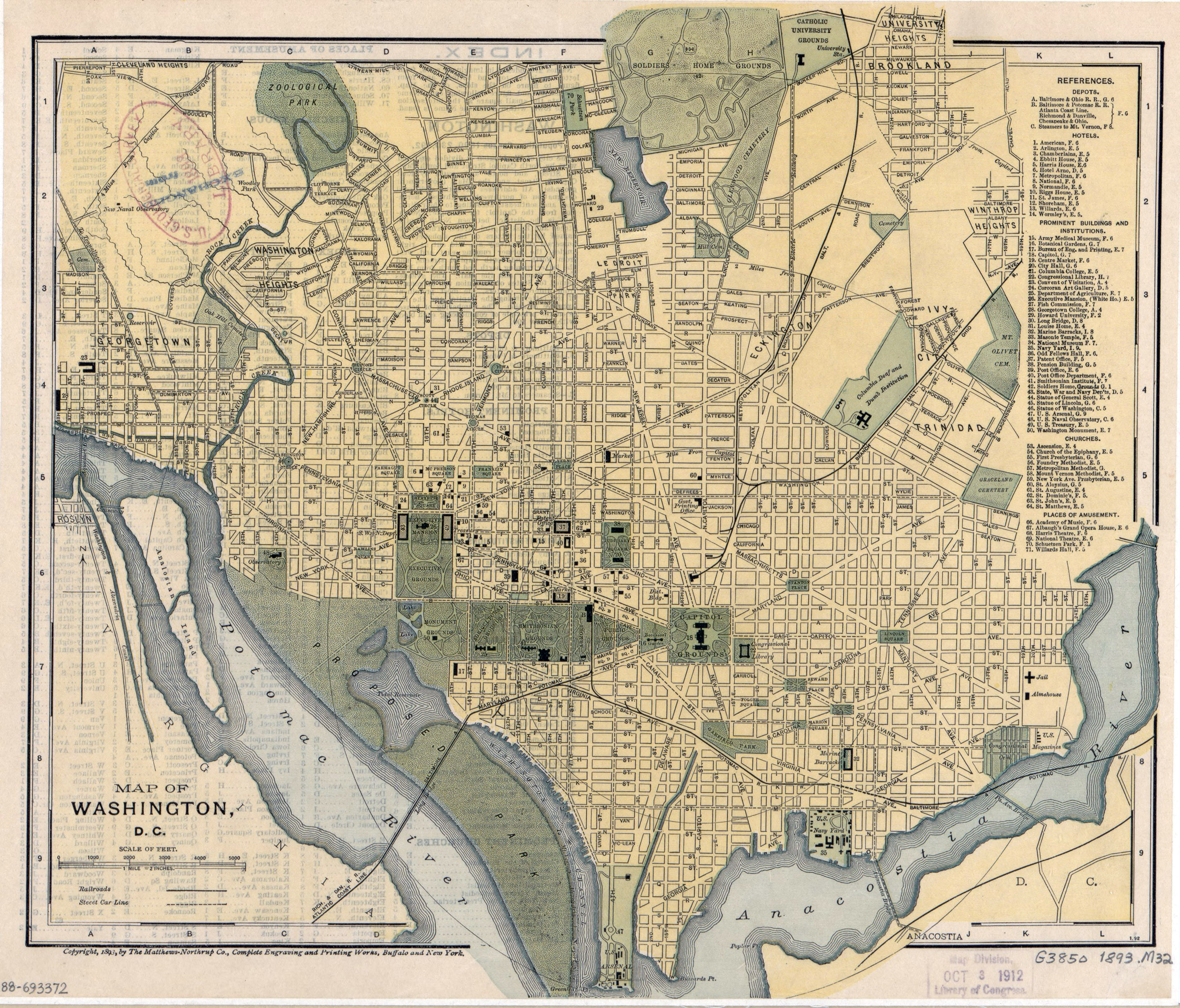 Large detailed old map of Washington D.C. with other marks ...