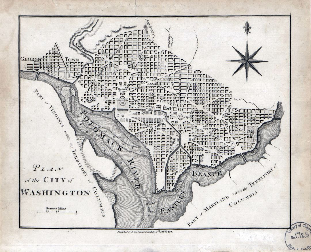 Large detailed old plan of the city of Washington - 1798