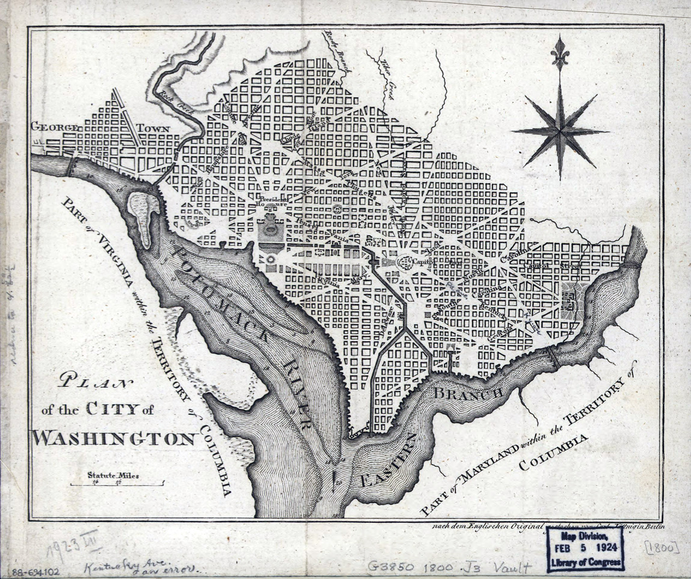 Map Of America In 1800.Large Detailed Old Plan Of The City Of Washington 1800