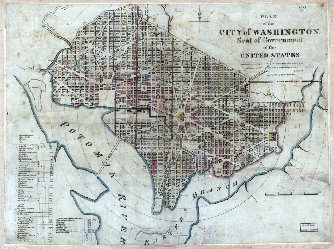 Large detailed old plan of the city of Washington - 1829