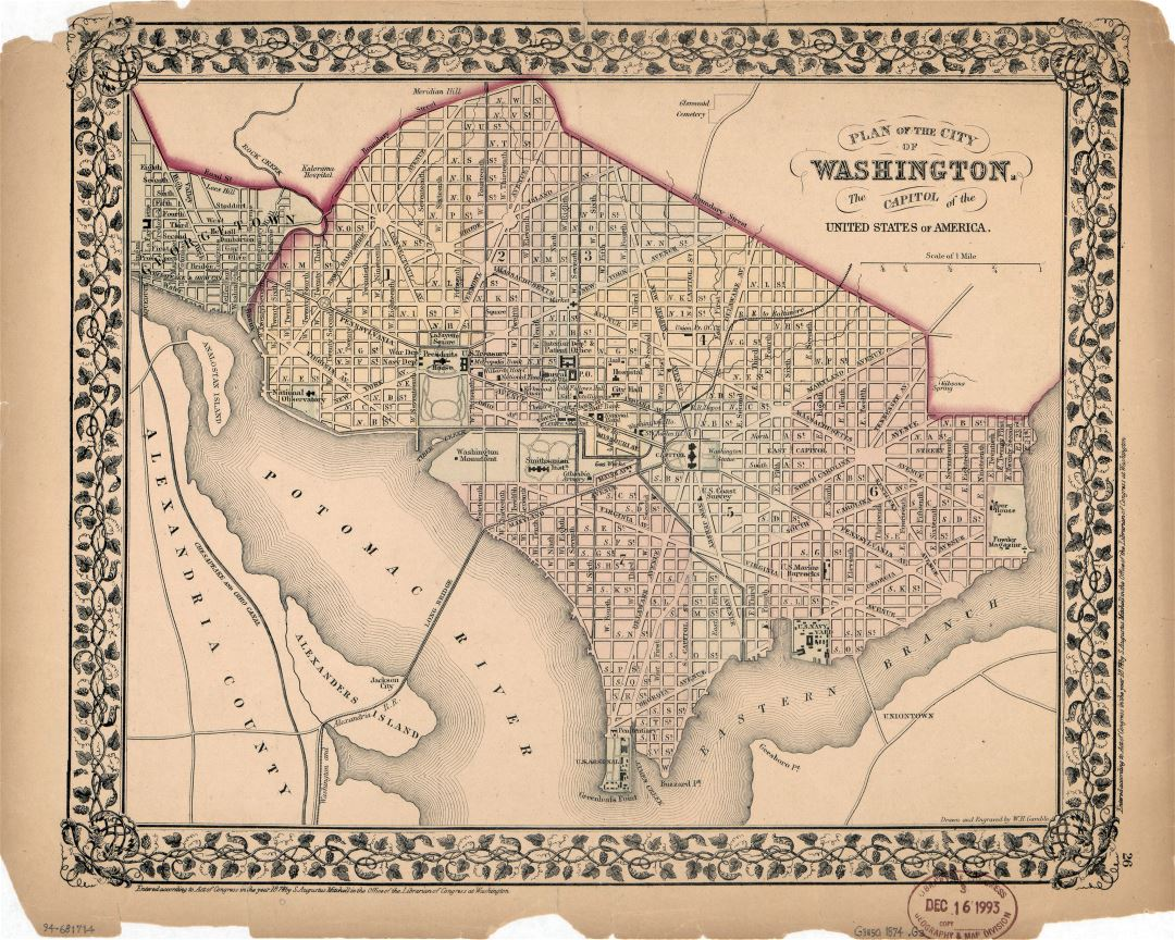Large detailed old plan of the city of Washington - 1874