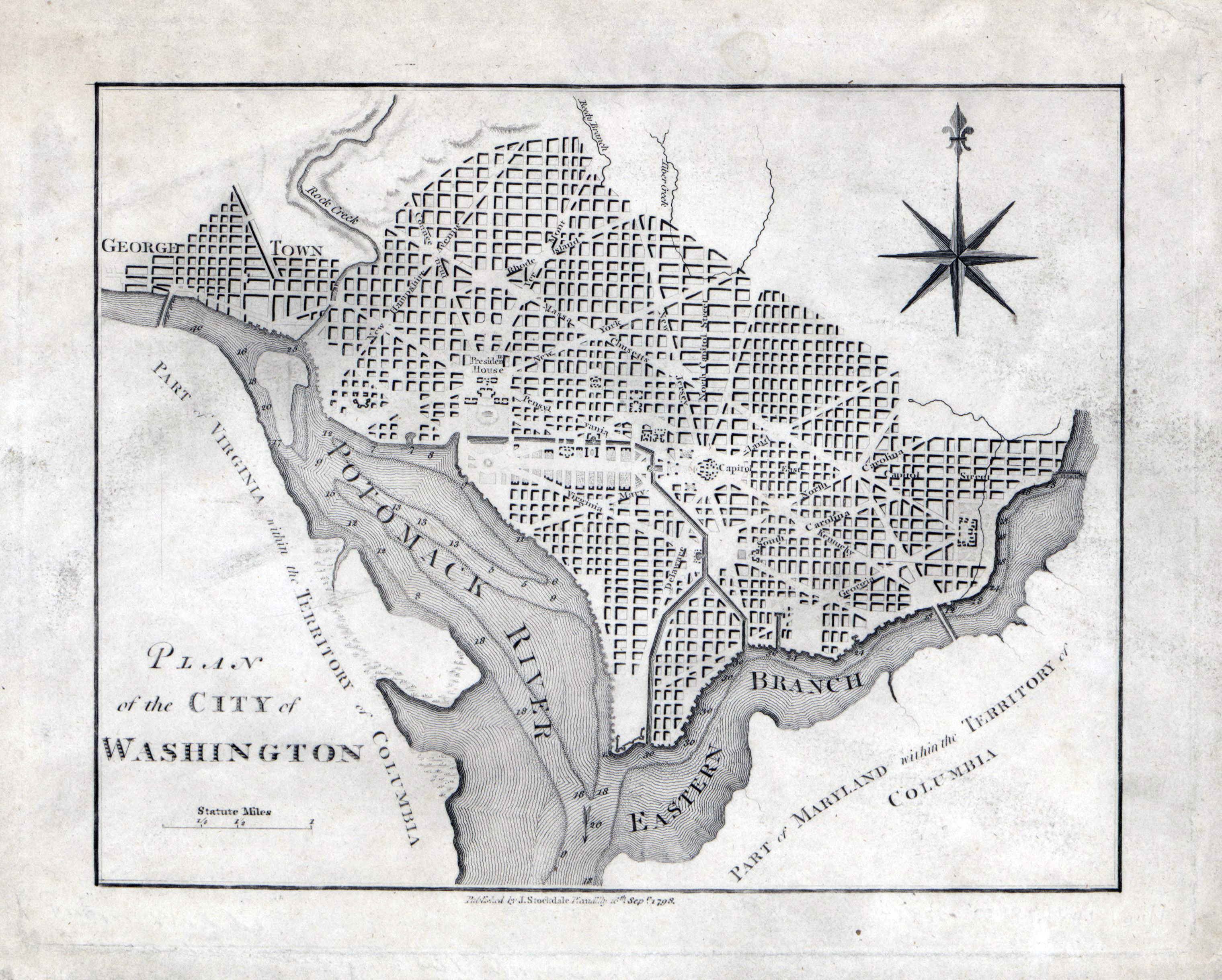 Large detailed old plan of the city of Washington DC 1798