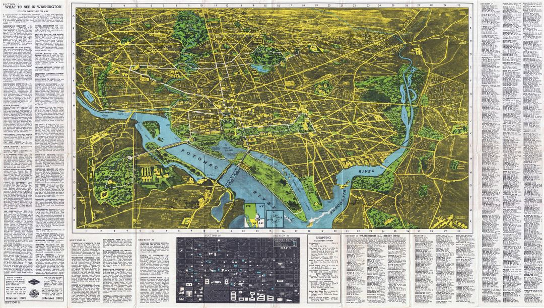 Large detailed panoramic map of Washington D.C.