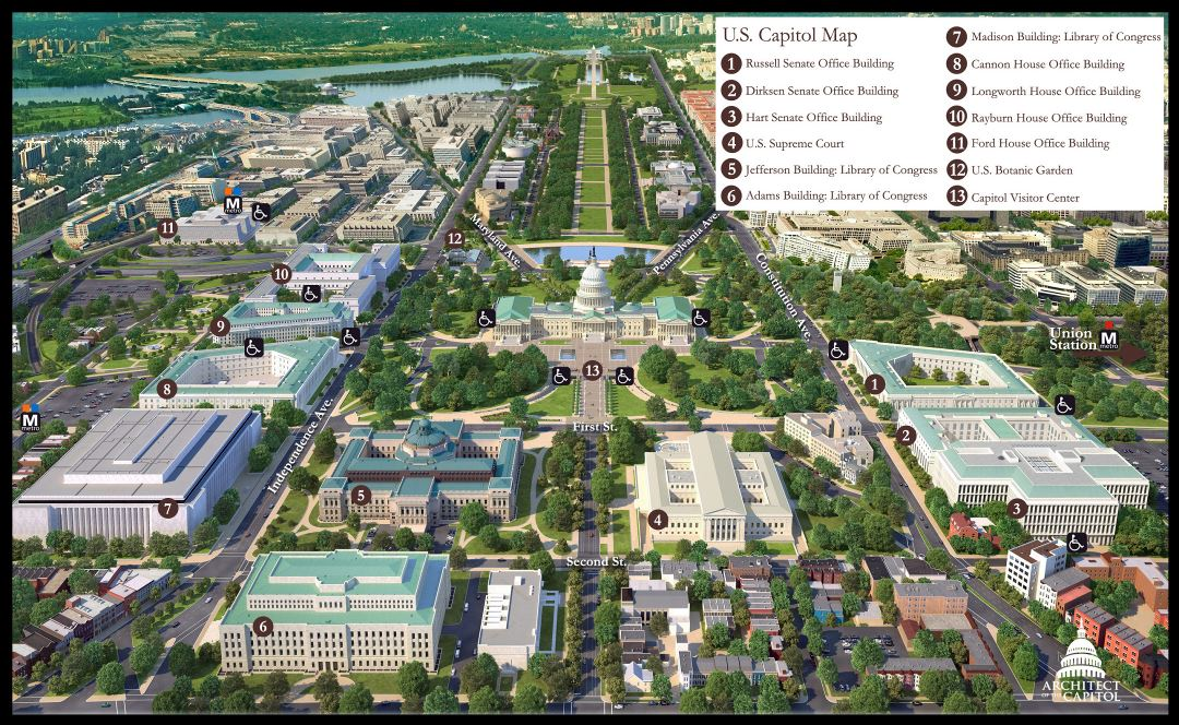 Large detailed panoramic tourist map of US Capitol