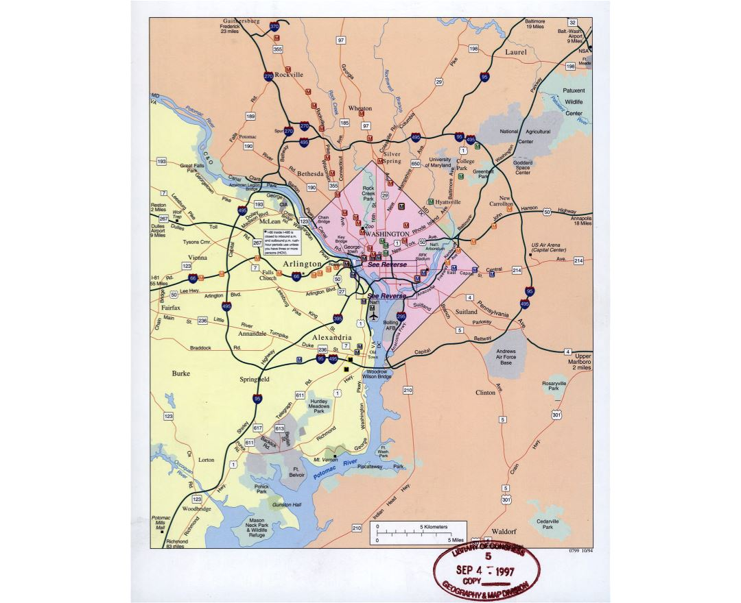 Maps of Washington DC Detailed map of Washington DC city in
