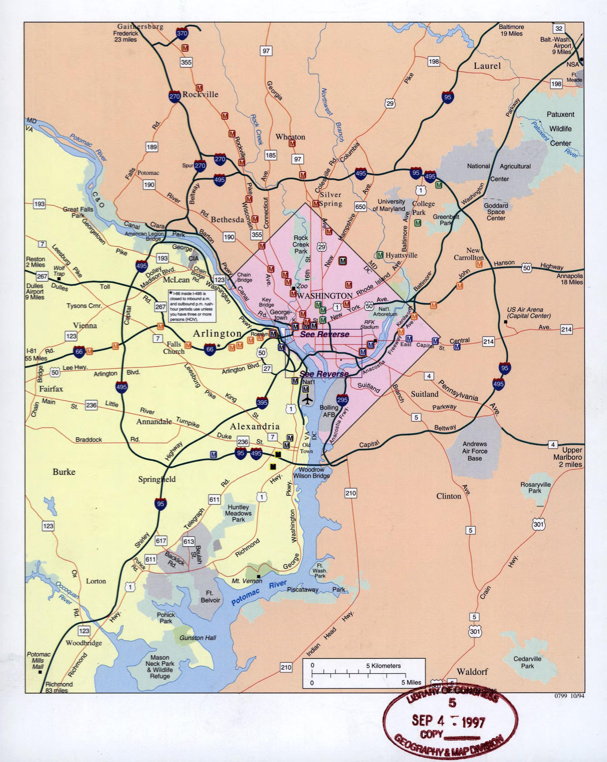 Large detailed road map of Washington Metropolitan Area 1994