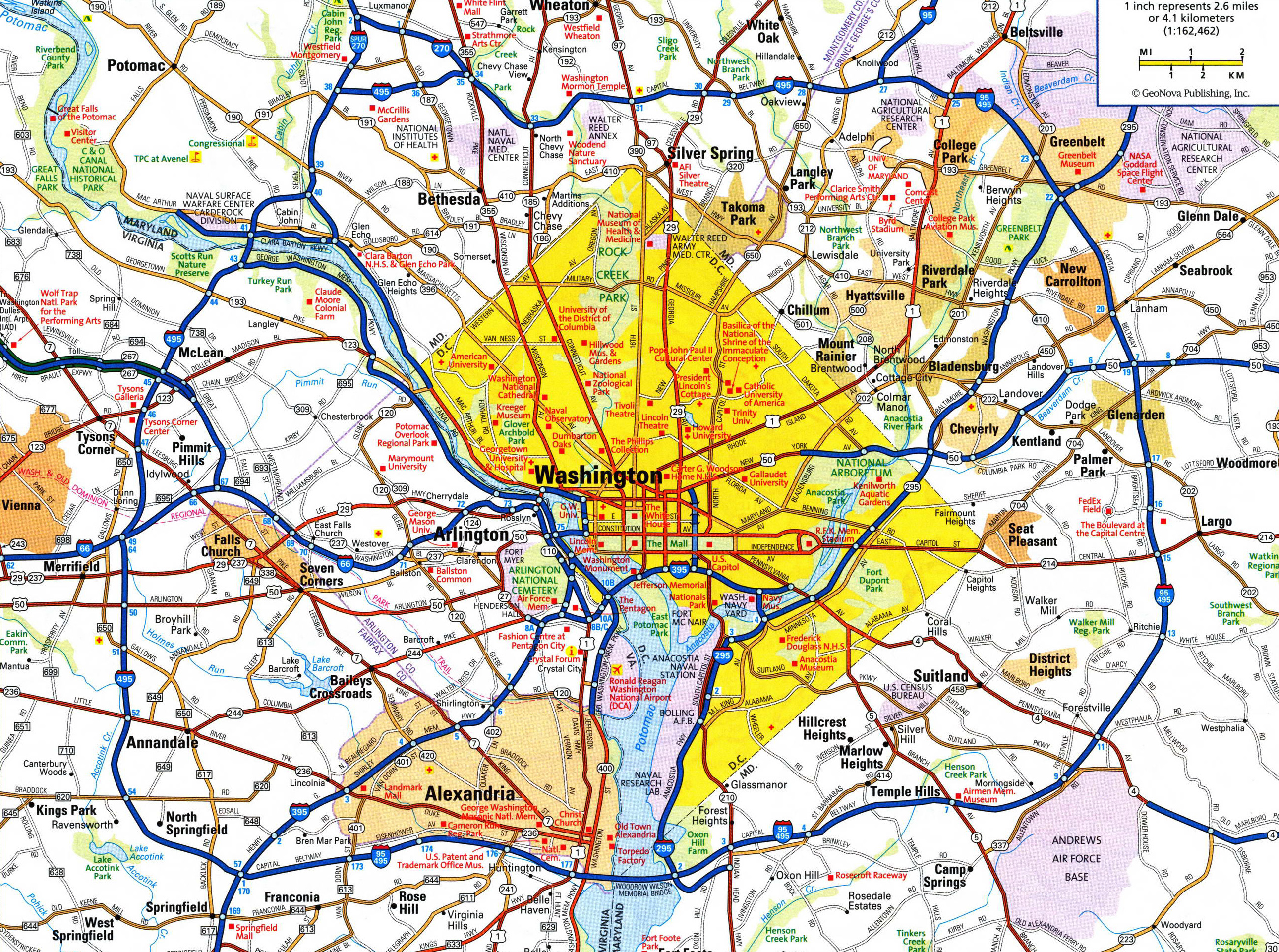 Large detailed roads and highways map of Washington D.C. area