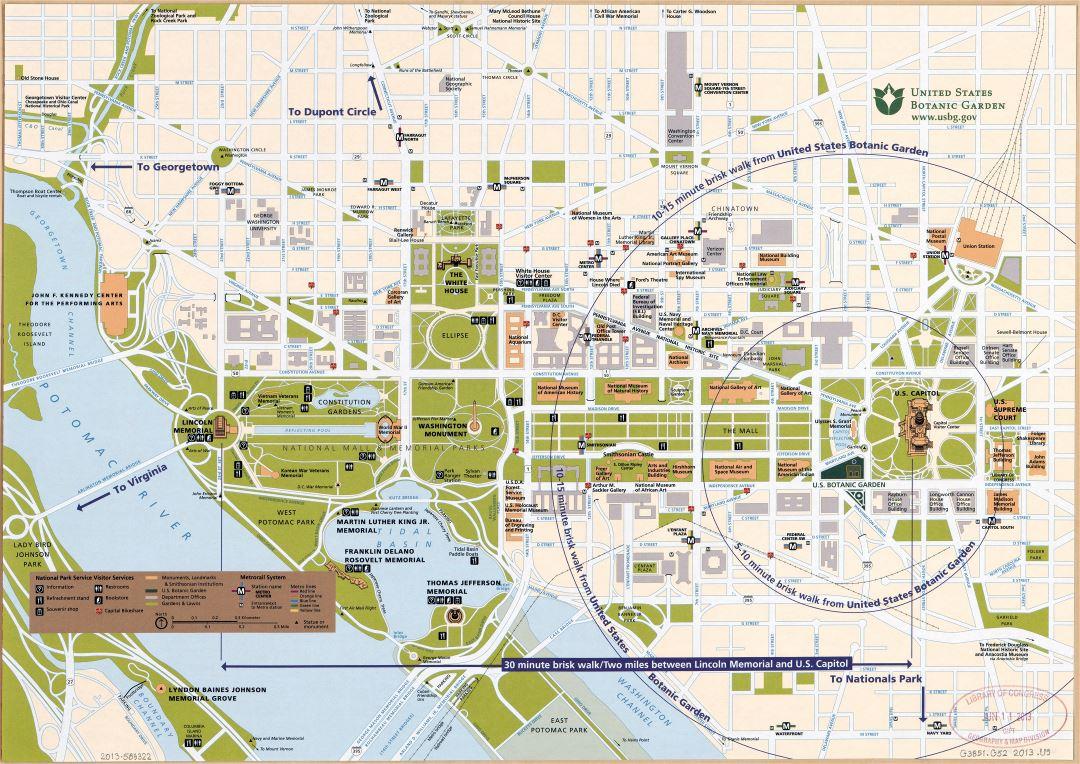 Large detailed street map of central Washington D.C., showing parklands and all government buildings - 2013