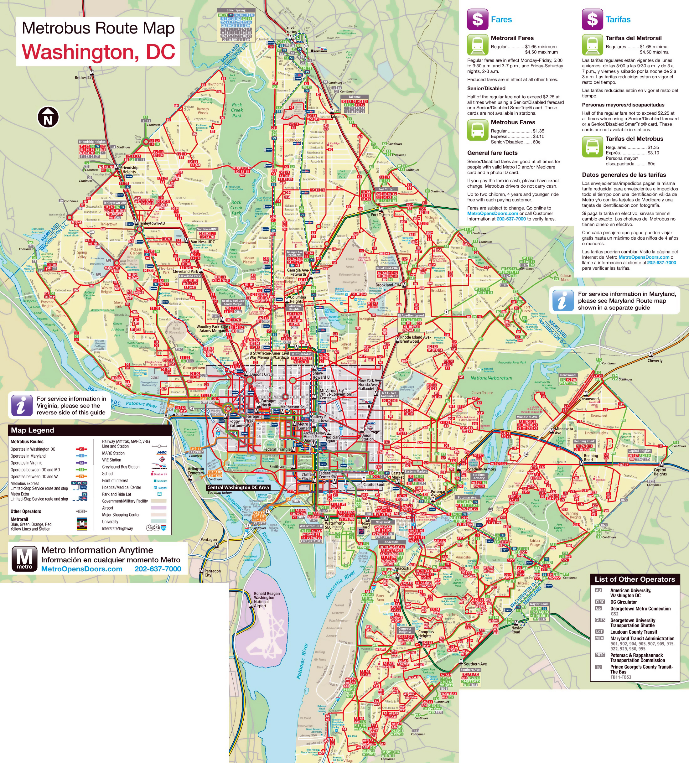 Large metrobus route map of Washington DC Washington DC USA