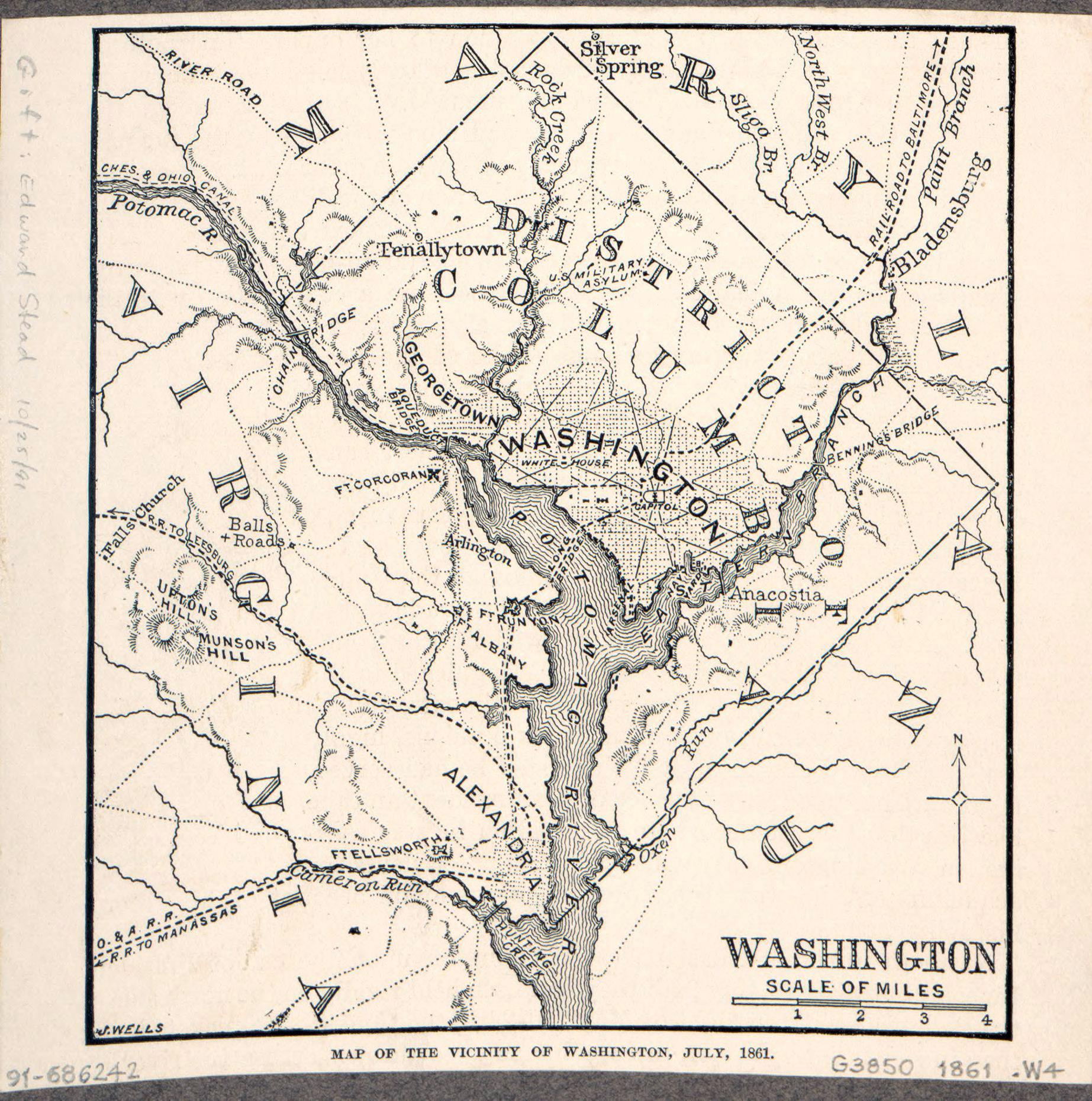 Large old map of the vicinity of Washington - 1861   Washington D.C. on
