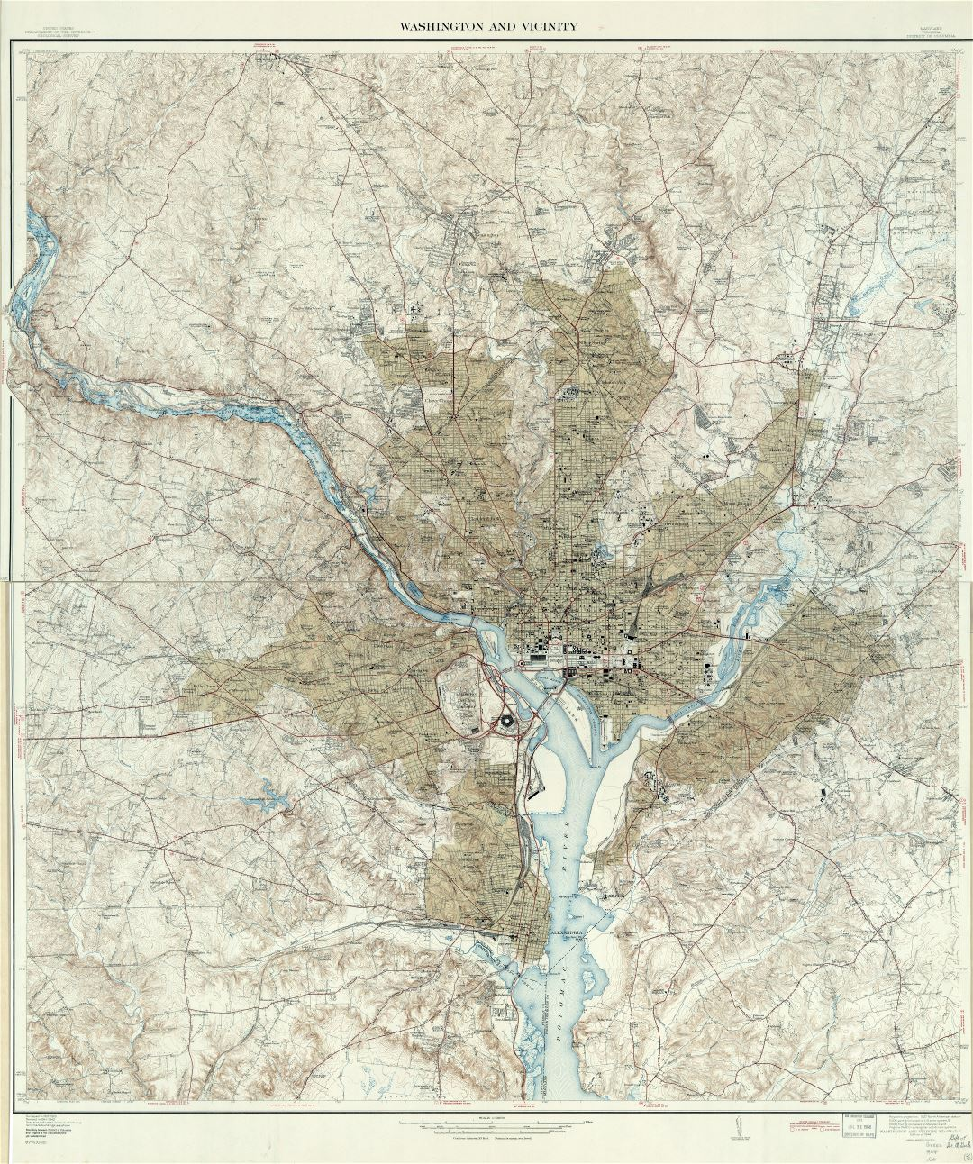 Large scale detailed map of Washington and vicinity, District of Columbia, Maryland, Virginia - 1944
