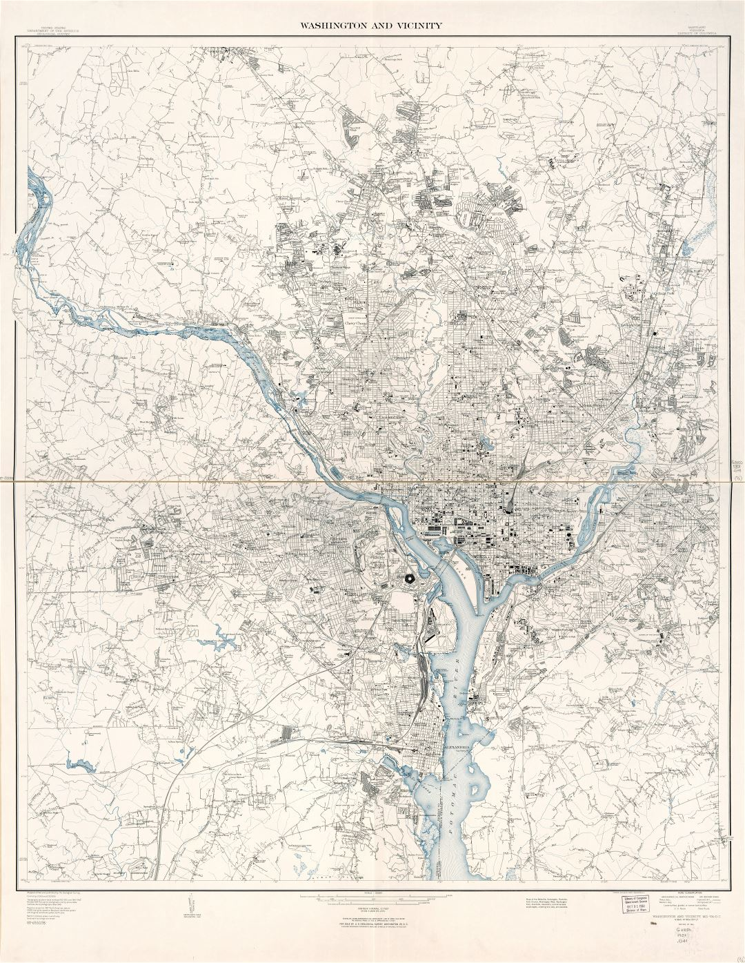 Large Scale Detailed Map Of Washington And Vicinity District Of - Detailed map of virginia