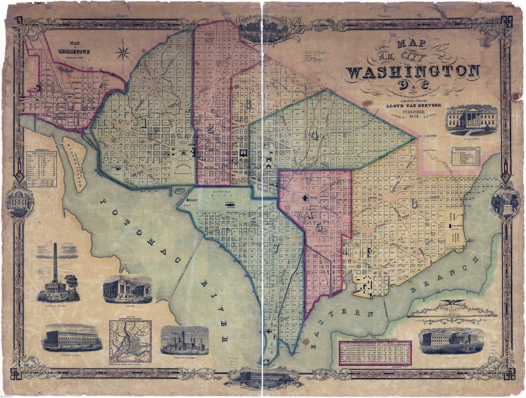 Large scale detailed old map of the city of Washington DC 1851