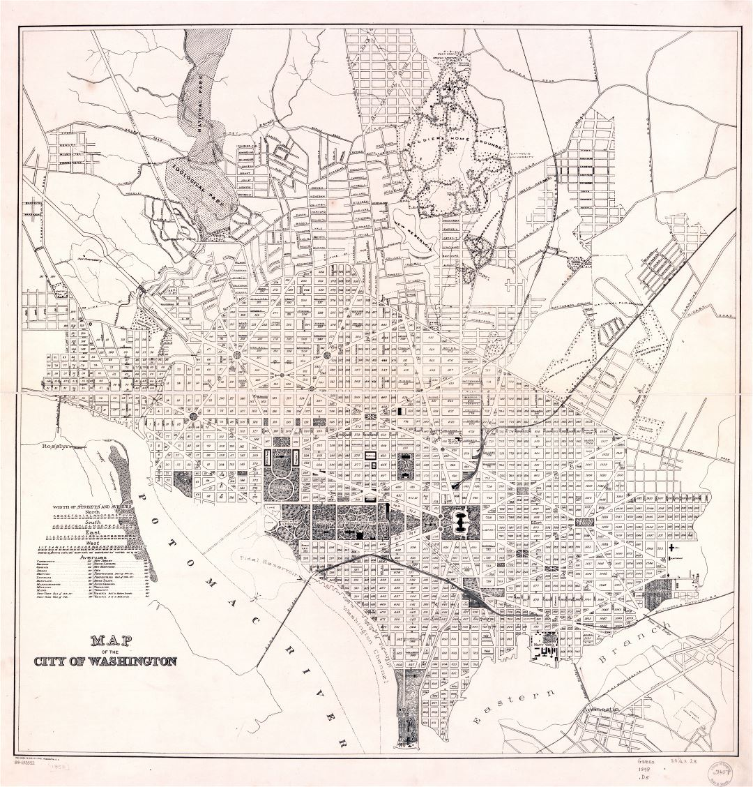 Large scale detailed old map of the city of Washington DC 1898