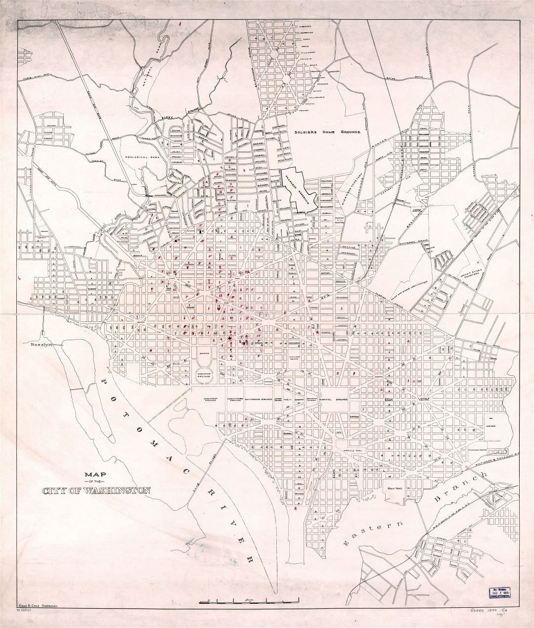 Large scale detailed old map of the city of Washington DC 1899