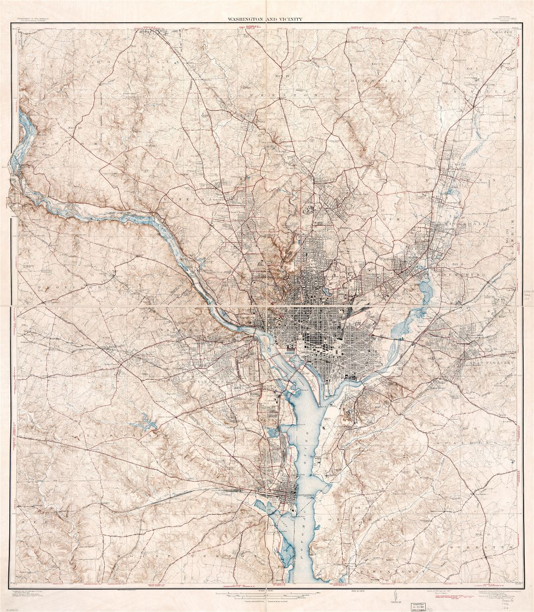 Large scale detailed old map of Washington and vicinity, Maryland District of Columbia, Virginia - 1932