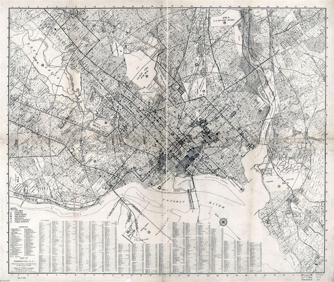 Large scale detailed old map of Washington DC 1918 Washington
