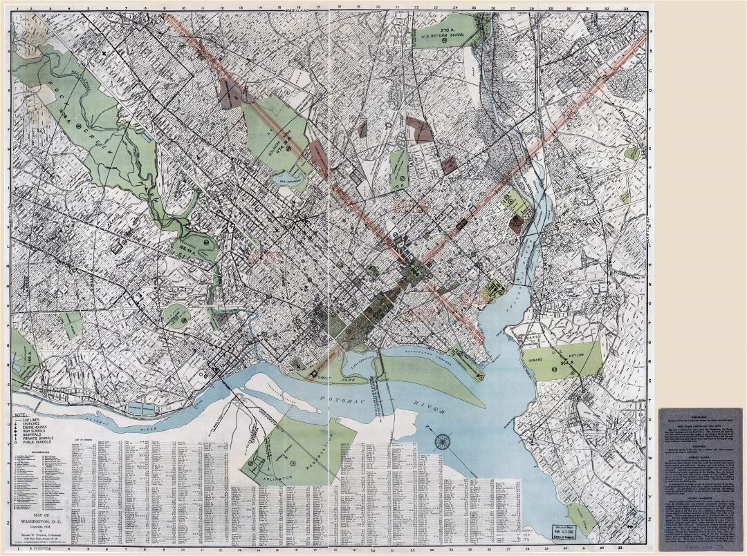 Large scale detailed old map of Washington DC District of