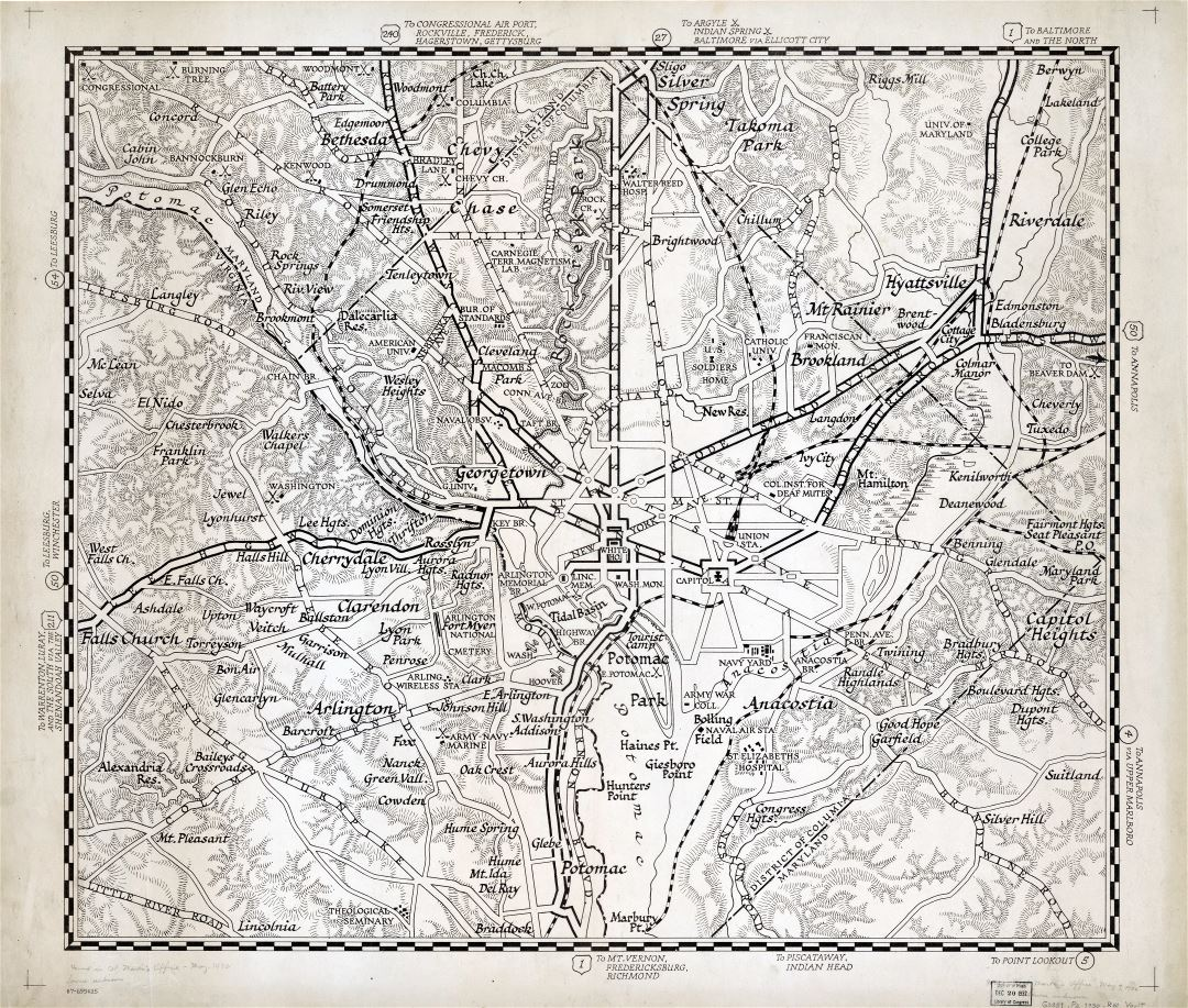 Large scale detailed old road map of the Washington DC