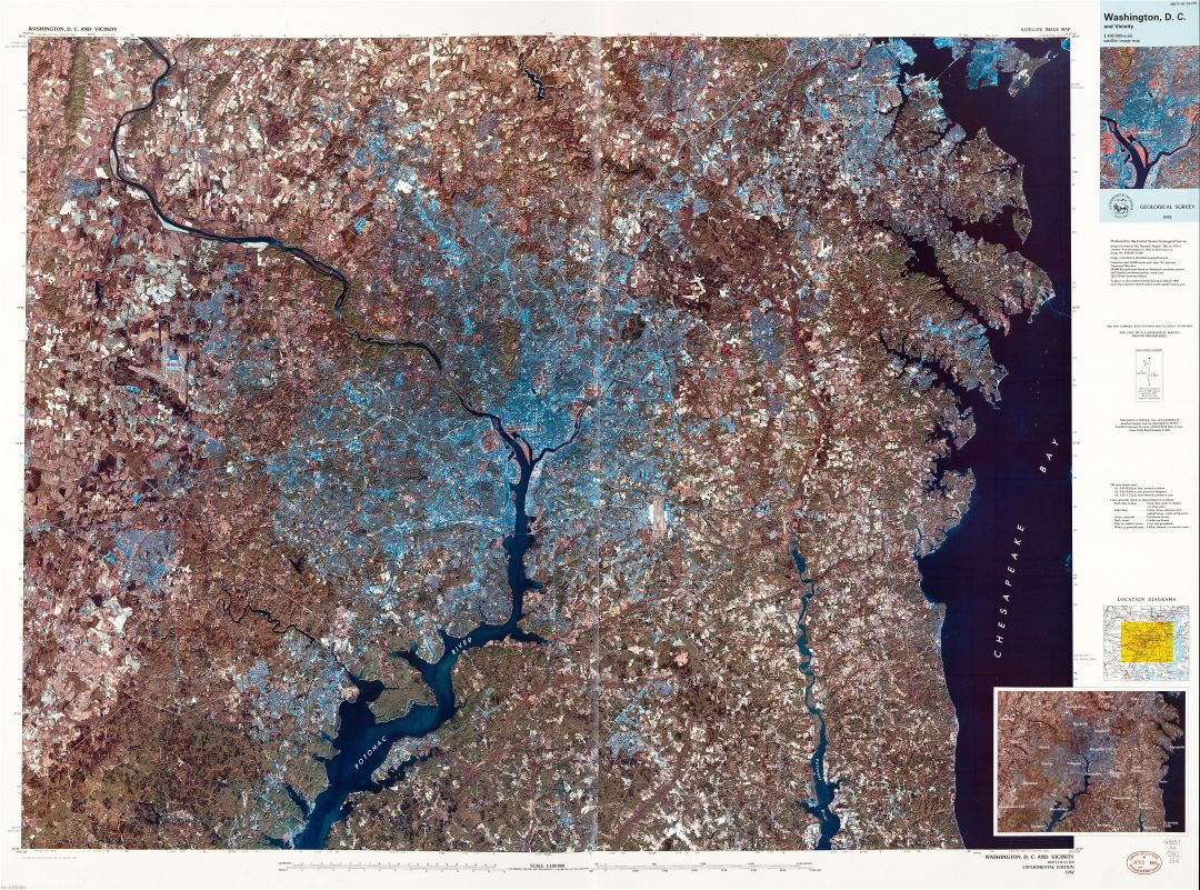 Large scale detailed satellite image map of Washington D.C. and vicinity - 1984